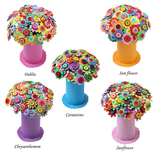 5 Sets DIY Craft Kit for Girls BoysBouquet Button Flowers Iron Wire Felt Bouquets Kids Arts Crafts Toy 4 -12 years Old Creativity gifts Mother's Day Teacher's DayBirthday