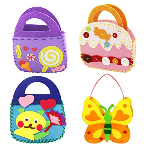 NUOBESTY 4Pcs Kids Craft Felt Kit DIY Nonwovens Handbags Sewing Learn to Sew for Girls Preschool Kindergarten Home