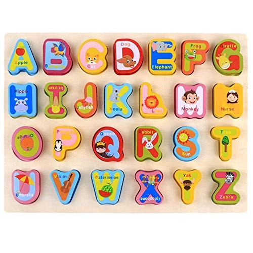 F&J Color Early Education Cartoon Cognitive Hand Grasping Board Wooden Building Blocks Toy Alphabet