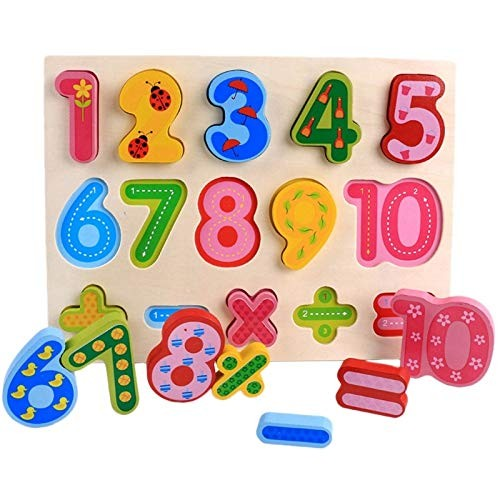 F&J Color Early Education Cartoon Cognitive Hand Grasping Board Wooden Building Blocks Toy Numbers