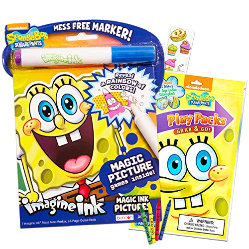 - Spongebob Squarepants Coloring Book Set -- Imagine Ink With Magic Pen Play  Pack Fun-Size Activity Crayons Stickers And Food Party Pack - Educational  Toys Planet