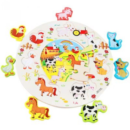 LZW Puzzle Assembly Combination Round Children's Early Education Wooden Toys Building Block