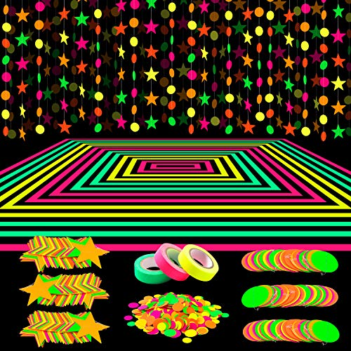 Glow Party 7 Inch Paper 8 Pack Neon Glow Black Light Birthday Decorations
