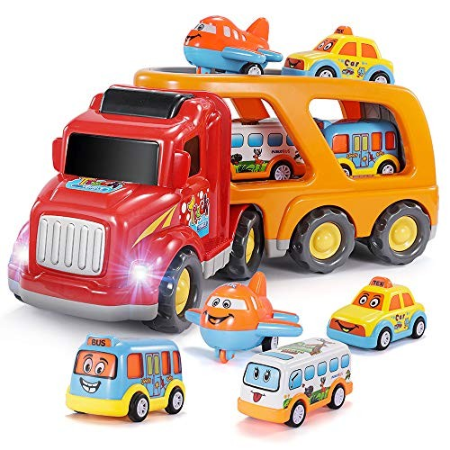 Temi Carrier-Truck Transport-Car Play-Vehicles Toys – 5 in 1 Friction Power Set w/ Real