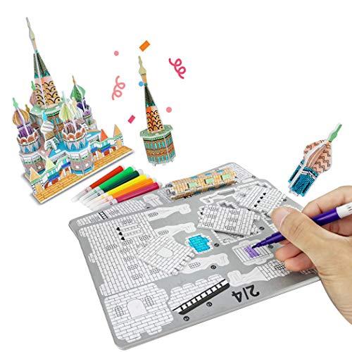 FunPa 3D Jigsaw Puzzle DIY Art Craft Kit Coloring Set Interactive Toy for Kids
