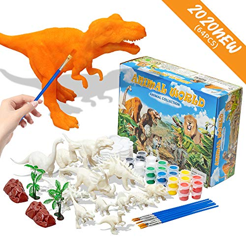 JSLIN 64Pcs Dinosaur Kids Crafts Arts Supplies Set Painting Kit for DIY Toy Decorate Your Own Toys Ages 4-8