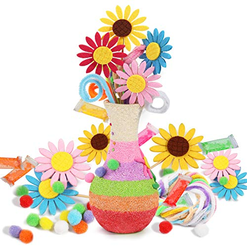 BAPHILE Sunflower Crafts Kit for Kids Fun DIY Party Favors Vase and Girls BoysCreate Your Own Flowers