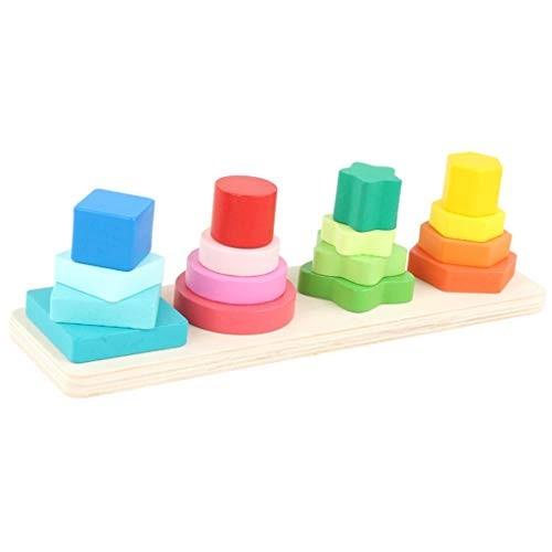 YONGMEI Children's Wooden Toys Paired Shape Building Blocks Baby Puzzle Set Column Pile Music