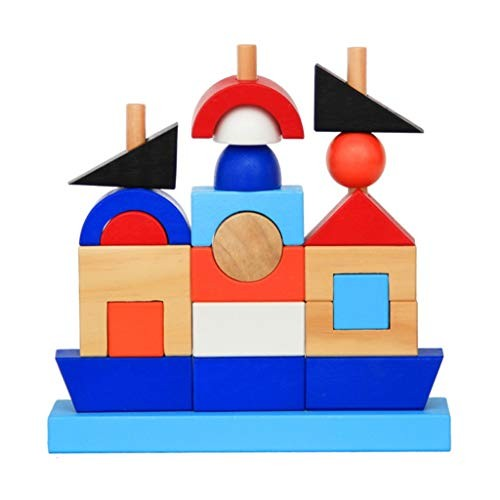 YONGMEI Wooden Building Piles and of Pirate Ship Sets Pillar Blocks Early Childhood Education Enlightenment Puzzle Toys
