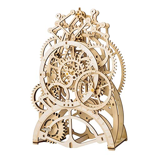 YINGZU Wooden Puzzle 3D Mechanical Gear Driven Pendulum Clock Assembly Model Home Craft Kit Children Adults Can Build Finished Products
