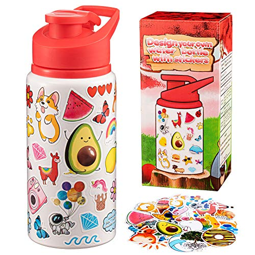 ANERZA Arts and Crafts for Kids Gifts Girls Water Bottle Craft Kit Fun Toy & DIY Art Set Personalize Decorate Your Own with Stickers BPA Free 20 oz