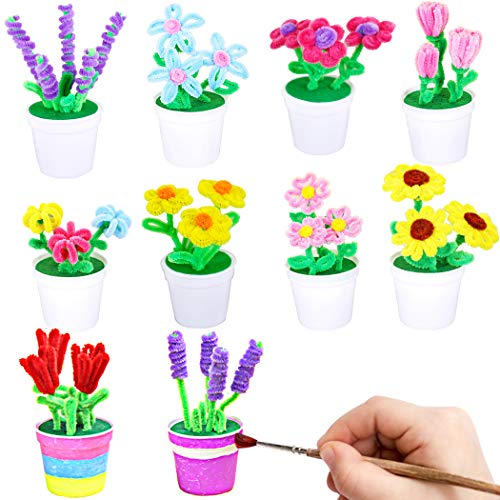 FunPa 10 Sets DIY Craft Kit Fake Plant Pipe Cleaner Set Handmade Educational Toy for Kids