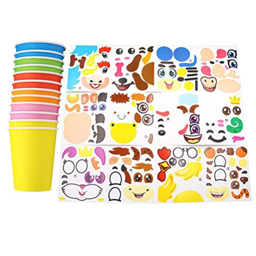 NUOBESTY Kids Sticker Paper Cup Art Kit Toddlers Crafts Toys Transform Simple into Animals 12 Sets