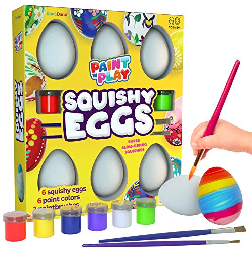 Paint Squishies – Squishy Painting Arts and Crafts Kit Kids Art Activities Easter Egg Craft Gift for Girls & Boys Decorate 6 Slow Rising White