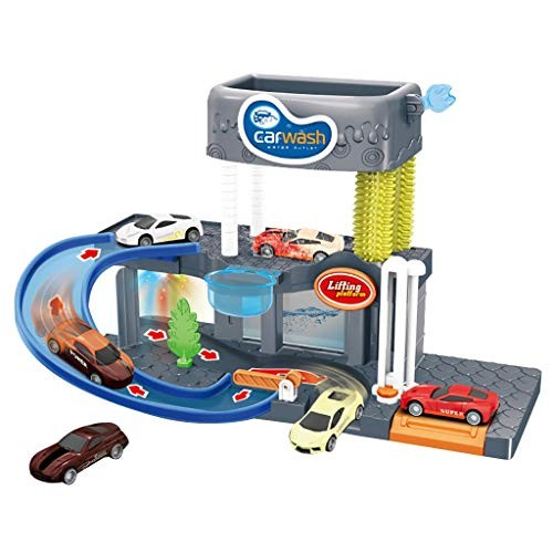 Children Toys Automatic Lift Car Wash Set Toy with Color Changing Alloy Cars Educational