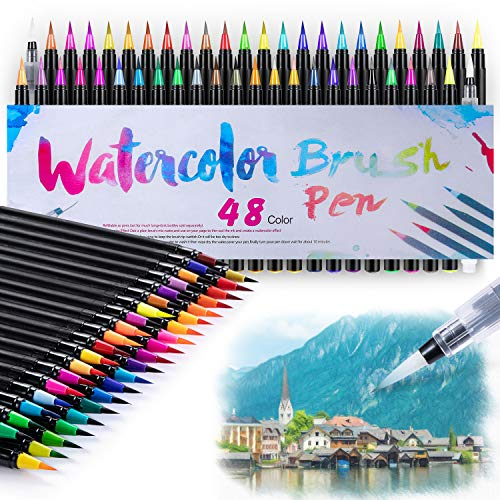 Watercolor Brush Markers Pens Set 48 Colors Water-Based Drawing Marker Brushes W A Water Coloring Soluble for Adult Kids Books Calligraphy Mother's Day Back to School Gifts