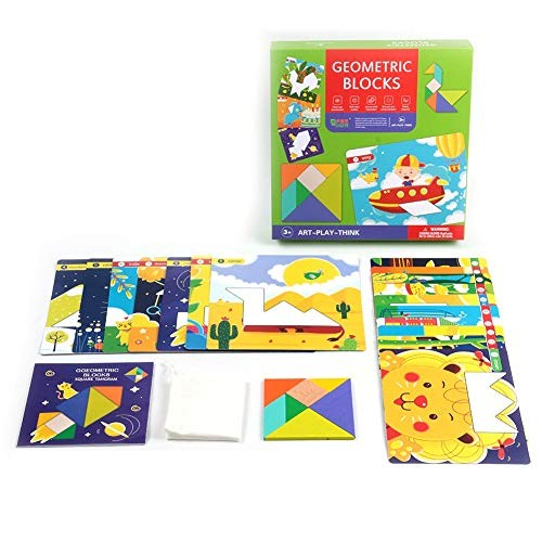 Jigsaw Puzzle Kids Wooden Heart Square Geometric Building Blocks Educational Toy –