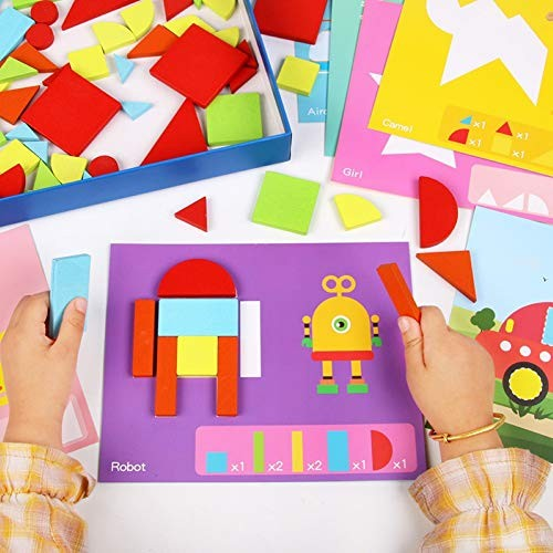 Jigsaw Puzzle Kids Wooden Geometric Tangram Building Blocks Game Intelligent Toy – Multicolor