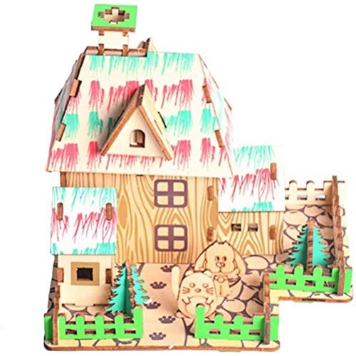 HxF- Puzzle Toy Cottage House 3D Three-Dimensional Wooden Model DIY Assembled Building Block Toys Interactive