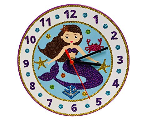 Paint with Crystals 3D Clock Kit Mermaid Butterfly Soccer Football – Kids Craft Art Creative Crafts for and Adults Gifts Ages 11 12 Mermaid
