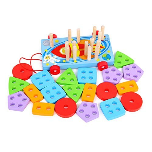 YONGMEI Wooden Pile Building Blocks Toy Multifunctional Pull Car Sets Column Puzzle Early Education Block Toys