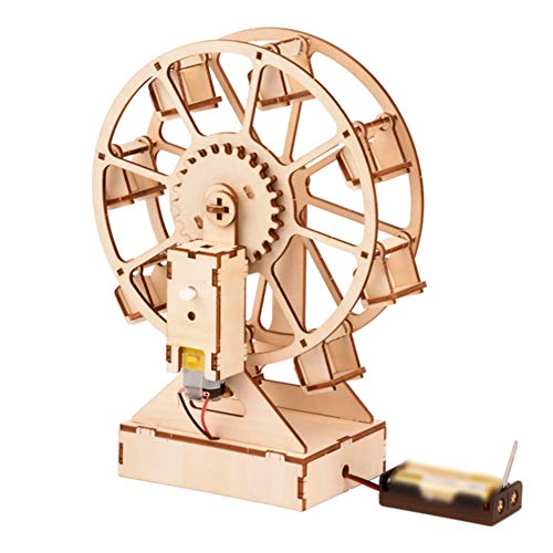 GEEFSU-3D Puzzle Adults Electric Ferris Wheel Wooden Model Building Kits Festival Gift Crafts