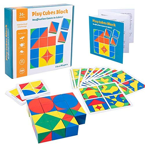 Shantan Jigsaw Puzzle Set – Wooden Pattern Blocks for Children Building Educational Toys