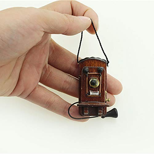 Academyus Telephone Toy Mini Vintage Wooden Wall Hanging Telephone Toy Miniature Dollhouse Accessories(Ebony)