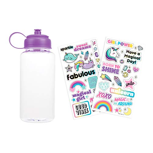 Three Cheers for Girls by Make It Real – Sticker Me Water Bottle Purple Decorate & Personalize Your Own with Cute VSCO Stickers Waterproof Spill Proof Kids