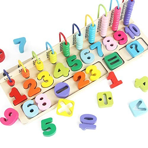 Wooden Number Puzzle Children's Abacus Addition and Subtraction Arithmetic Toy Building Blocks