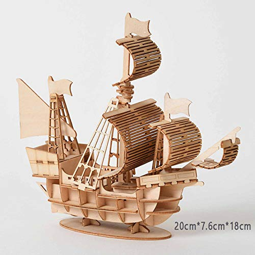 Laser Cutting DIY Sailing Ship Toys 3D Wooden Puzzle Toy Assembly Model Wood Craft Kits Desk Decoration for Children Kids-A