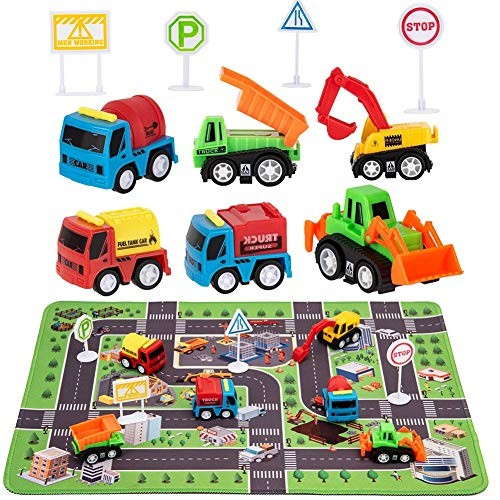 Construction Toys with Play Mat Engineering Vehicles Set Include 6 Construction Trucks 4 Road