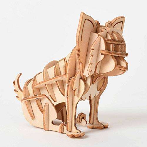 Laser Cutting DIY Animal Cat Dog Panda Toys 3D Wooden Puzzle Toy Assembly Model Wood Craft Kits Desk Decoration for Children Kid-B