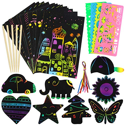 Yolyoo Scratch Paper Art Set-75Pcs Rainbow Magic Off Crafts Supplies Kits Black Notes Sheet for Birthday Game Party Favor