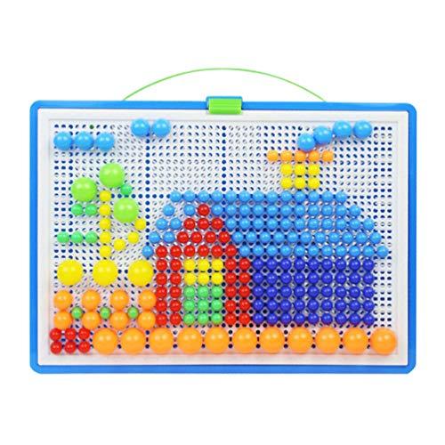 Toyvian Kids Mosaic Puzzle Toys Set Mushroom Nails Pegboard Educational Building Blocks Bricks for Toddler Children Kids Random Color