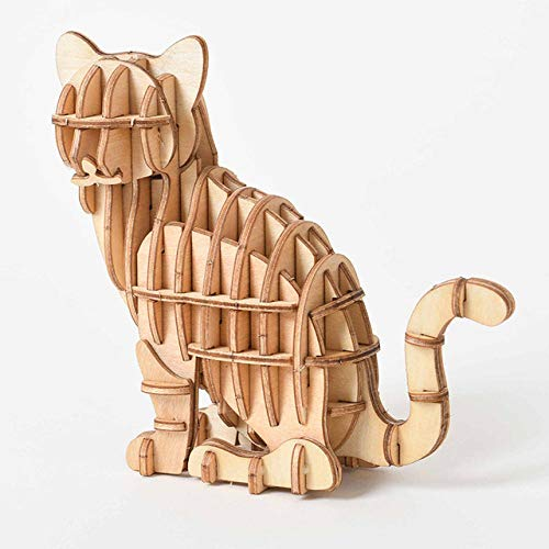 Laser Cutting DIY Animal Cat Dog Panda Toys 3D Wooden Puzzle Toy Assembly Model Wood Craft Kits Desk Decoration for Children Kid-F