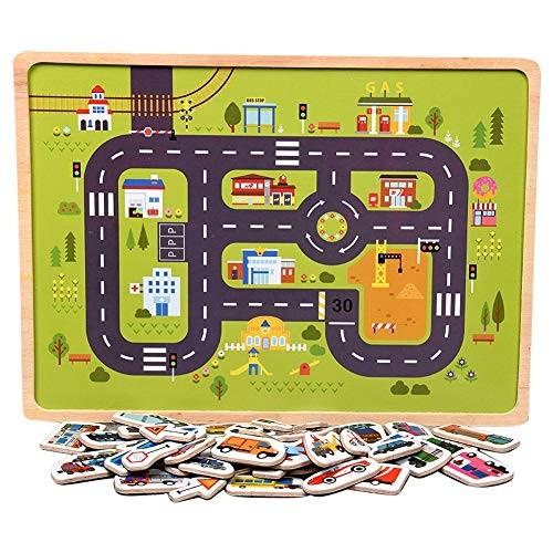 LOadSEcr Kids Toys Wooden Magnetic Animal Vehicle Building Blocks Jigsaw Puzzle Intelligent Toy Children Entertainment Educational Vehicle^