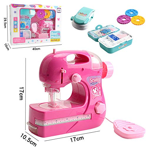 FING Mini Sewing Machine Portable Electric Style Craft Kit Toys Small Manual Educational Toy for Household Travel Kids Children Beginner