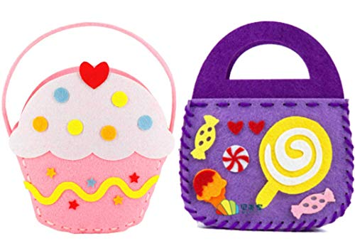 Adam Victor Kids DIY- First Sewing Kit for Non-Woven Bag Learn to Sew DIY Craft Kits Lovely Style- Candy and Ice Cream Ages 6+ 2 PCS