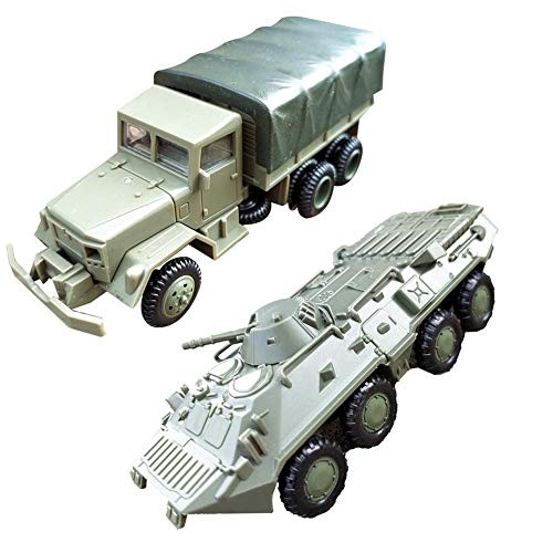 MOOMKEY 2Pcs/Set 1/72 M35 Truck BTR-80 Cavalry Carrier Model DIY Assembly Craft Kids Toy