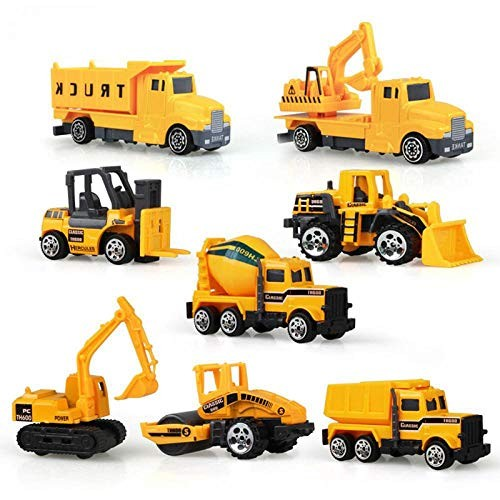 8PCS Mini Diecast Alloy Engineering Car Model Tractor Toy Dump Truck Vehicles Road Gift for Kids A