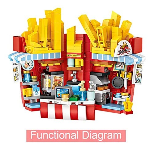 UD Let's Make Mini Model Building Blocks with Store French Fries Shop Bricks Favors for Children Educational Stem Toys Birthday Gifts Boys & Girls