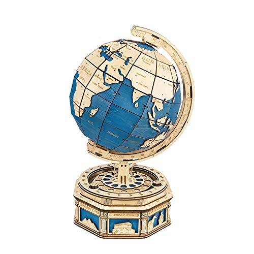 SHPEHP Globe 3D Puzzle Adults-Brain Teasers Wooden Model Building Kits-Mechanical Construction Build Your Own Laser Cut Jigsaw Crafts-A