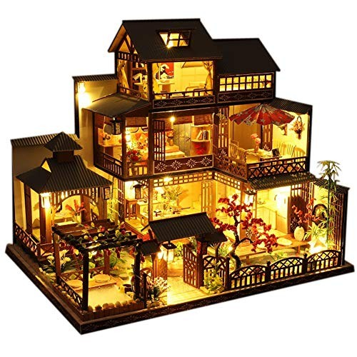 WYD Three-Story Japanese-Style Villa Model Japanese Style Wooden Assembled Doll House Kit Puzzle Puzzle