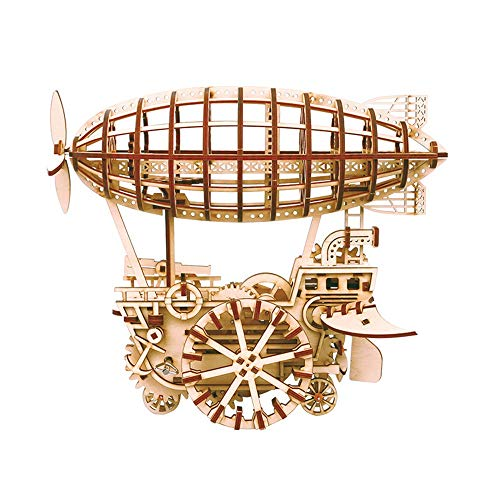 3D Wooden Puzzle Craft Kits Puzzles Model Toys DIY Airship Gorgeous Home Dcor Color Natural Size 300x215x250 mm