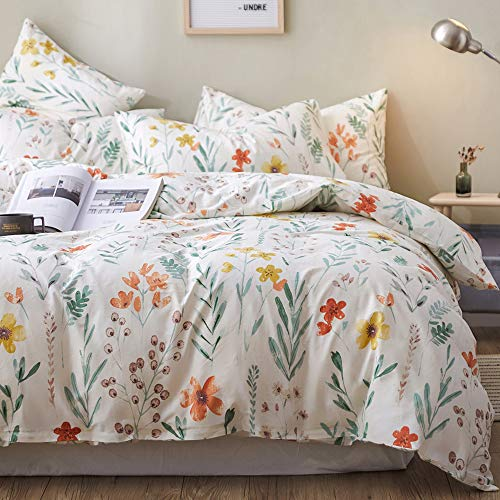mixinni Garden Style 3 Pieces Girls Multi Flower Leaf Print Duvet Cover King 100% Natural Cotton Floral Bedding Set with Zipper Ties for Women Easy Care Soft Durable-Spring