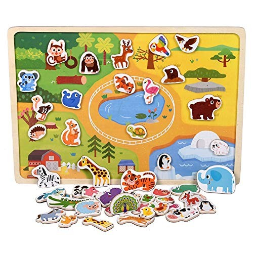 YuFanKits Kids Wooden Magnetic Animal Vehicle Building Blocks Jigsaw Puzzle Intelligent Toy Creative Discovery for Home Office Outdoor