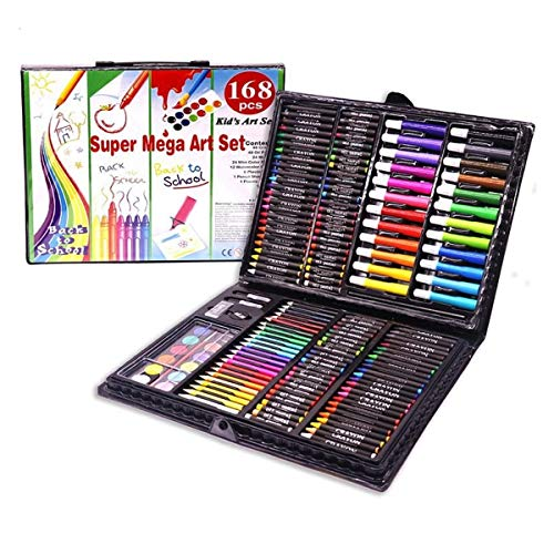 NICROLANDEE 168 PCS Arts and Crafts Kit for Kids Great Artist Deluxe Beginners Gift Set with Case to Creative Drawing Painting Coloring Fun