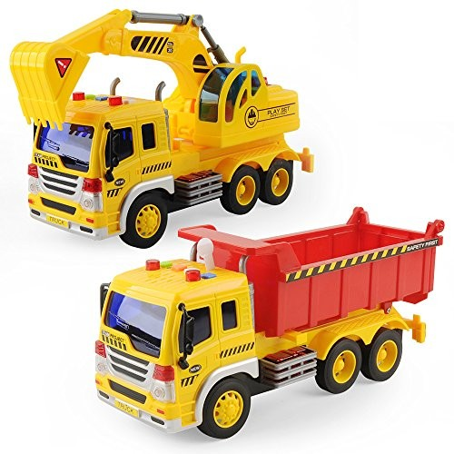 Bilidex Toys Set for Kids 1 16 Engineering Construction Truck Car Model Excavator Digger Vehicle Movable Claw Loader Trucks Boys&Girls Early Educational Gift