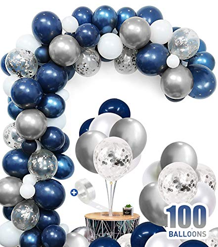 100pcs Balloons 12 Inches Silver Confetti Blue Balloon Arch with 1pcs Garland Kit Strip Baby Shower Birthday Party Decorate